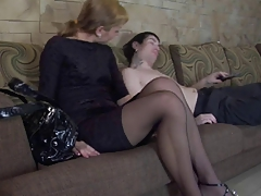 Young Man Enjoys Mature In Pantyhose