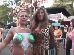 Sexy Babes Showing Off Their Hot Body Painting Outdoors