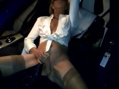 Dogging in silk stockings and boots