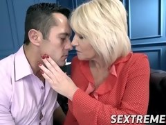 Hardcore blonde Milf Amy teaches stud big cock fucking