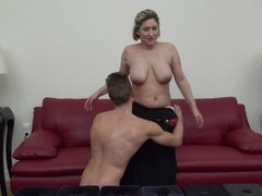 Busty Milf Gives His Cock A Good Smother