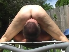 Hairy florida mature facesitting outside