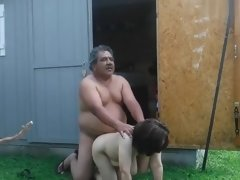 old couple fuck in backyard