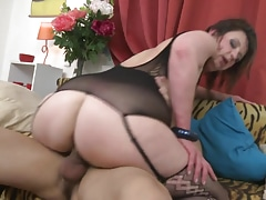 Mature sexy mom fucks lucky young son
